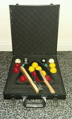 Pool balls pro cup in aluminium carry case, table brushes, chalks, triangle NEW