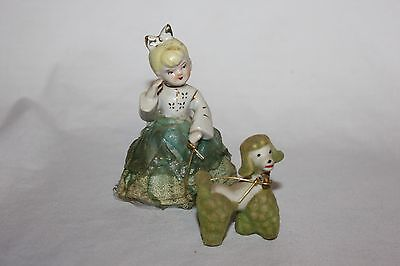 Vintage  Girl With French Poodle Figurine Collectible Unique