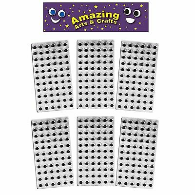 Self Adhesive wiggle googly sticky eyes on sheets 10mm 66 132 198 264 330 396