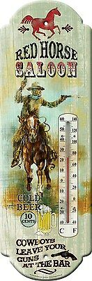 Western Rustic Ranch Home Garden Decor Red Horse Saloon Tin Thermometer