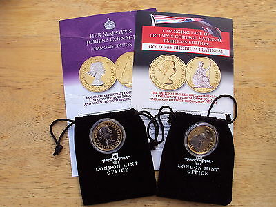 London Mint Office gold & platinum plated 1967 Pennies - choice