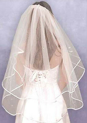 Finger Tip Length Wedding Veil Ivory Satin Edge *diamontes