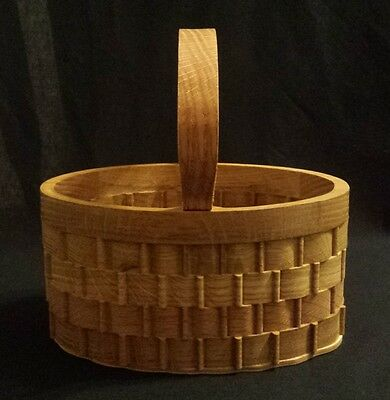 Handcrafted Large Wooden Oval Basket - Handmade by Kentucky Artist
