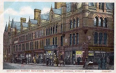 South City Market Buildings South Great Georges St Dublin G D D Postcard. 1907