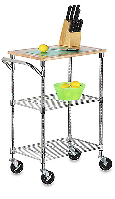 Honey-Can-Do SHF-01607 Kitchen Cart with Wheels and Cutting Board