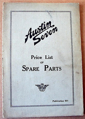 AUSTIN SEVEN Spare Parts Price List, Pub No 821, April 1931, plus Supplement