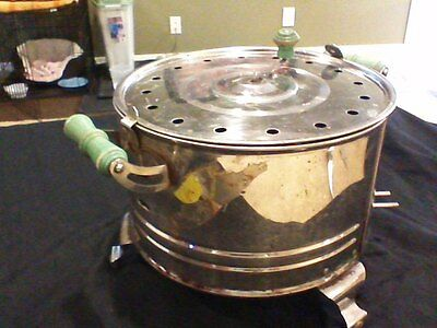 Vintage Excel Electric Popcorn Popper with Green wooden handles, WORKS!