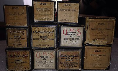 Antique QRS Tempesto Player Piano Rolls Lot 11 Sweet Bye And Bye Home Sweet Home