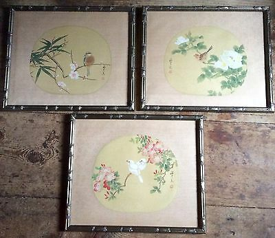 Set Of Three Vintage Asian Paintings Of Birds And Flowers On Silk Framed