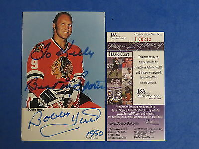 BOBBY HULL SIGNED 4x6 BLACK HAWKSPROMO CARD ~ JSA Cert L08212 ~ AUTOGRAPH