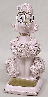 Vintage Pink Poodle Figural Sewing Caddy w Scissors Pincushion 1960s