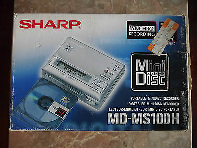 Sharp MD-MS100H Portable MiniDisc Recorder, Ex. condition, Functional, Boxed.+++