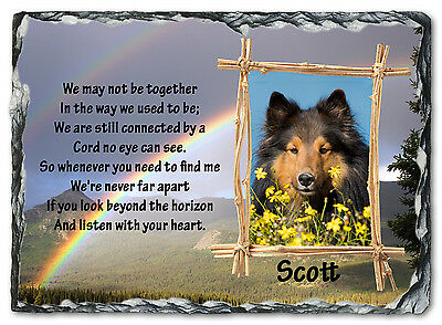Beautiful Personalised Pet / Dog Memorial Photo Slate Plaque - Listen