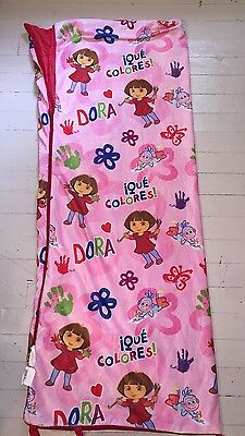 "Dora the Explorer  Sleeping Bag Girls Slumber Party 24"" x 60"" Pink Que Colores"
