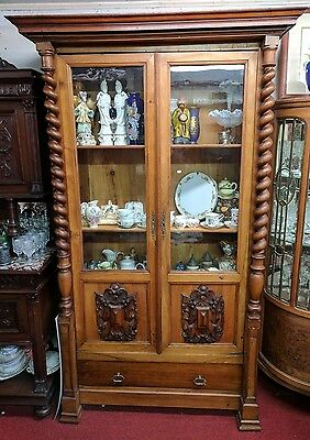 Antique French Walnut Bookcase Display Cabinet with Barley Twist Columns H 88""