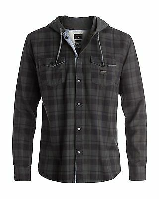NEW QUIKSILVER™  Mens Snap Up Hooded Long Sleeve Shirt Tops