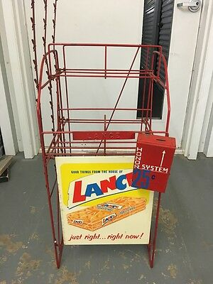 Vintage Lance Crackers Crackers 4 Jar Rack And Sign And Coin Box Nr