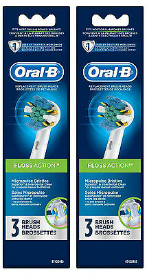 New Genuine ORAL B Floss Action Replacement Heads - 6 Count