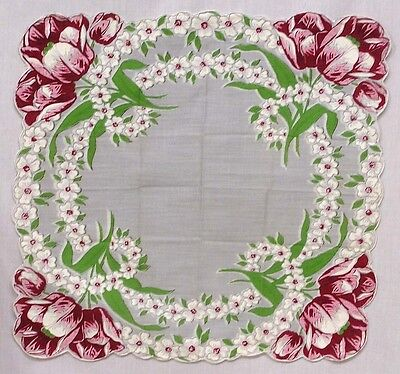 Vintage Hankie Pink Red Tulips White Blossoms WOW!!