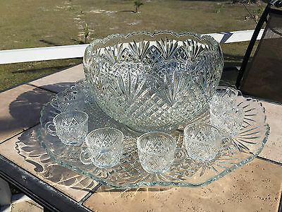 L.e. Smith Glass Pineapple Diamond Fan Punch Bowl 12 Cups & Large Under Plate