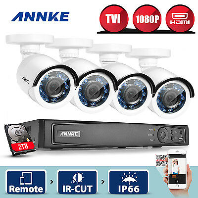 ANNKE 2TB HDD 1080P Smart Playback 4CH BNC DVR 4x Bullet Security Camera 2MP KIT