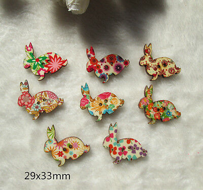 Wholesale lot  100PCS Easter bunny Wood button carving diy sewing  29x33mm