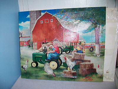 Growing Up Country Boy John Deere Print On Canvas By Donald Zolan