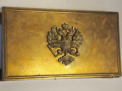 Park Sherman Russian 2 Eagle Armorial Crest Pop Up Cigarette Dispenser Brass Box