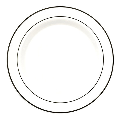 Party Essentials N103972 White Plastic Plates with Silver Rim, 10.25-Inch, (Pack