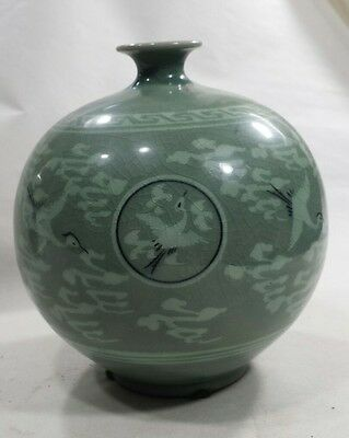 Celadon Green Crane Glazed Ceramic Round Vase Korean Style-Signed