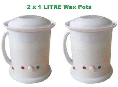2 1Litre Wax Pots Salon Spa Wax Beauty Hair Removal Hot wax Strip Wax
