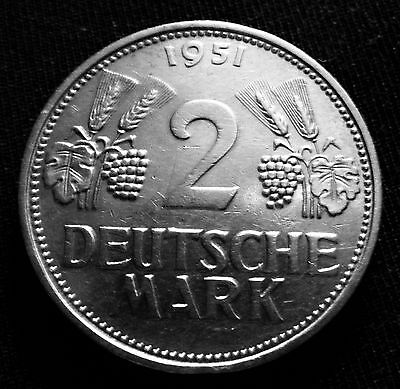 Only 1 Year Minted! Low Mintage Xxrare 1951F German 2 Mark Germany Republic Coin