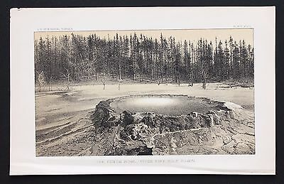 1878 Yellowstone Park Fire Hole Lithograph Original Survey of the Territories
