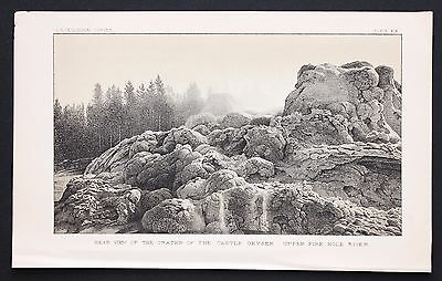 1878 Yellowstone Fire Hole Geyser Lithograph Original Survey of the Territories