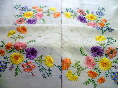 "Chrysanthemums/Daisies/Forgetmenots ~ Hand Embroidered Lge Tablecloth 42"" x 44"""