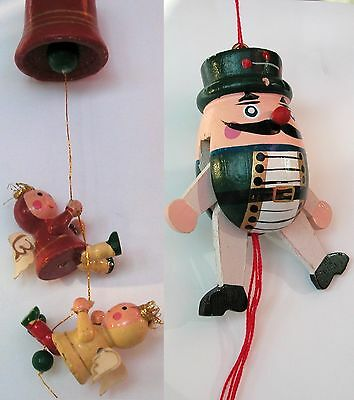 Vintage Chrismas hand-made wooden ornaments: bell angels & humpty-dumpty, Taiwan