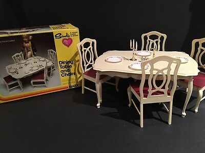 Vintage MARX 1979 Sindy Dining Table & Chairs With Accessories in Original Box