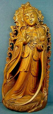 VINTAGE INDONESIAN CARVED WOOD VITARKA MUDRA GUANYIN with LOTUS FLOWER STATUE