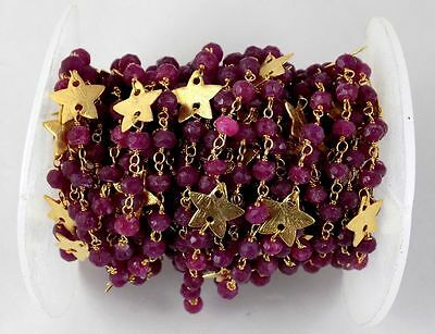 5 Feet Dyed Ruby Faceted Rosary Star Charms Beaded Chain 24k Gold Plated 3.5-4mm