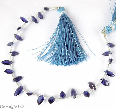 "1 Strand Natural Blue Iolite Faceted 4x8mm Marquise Shape Gemstone Bead 7"" Long"