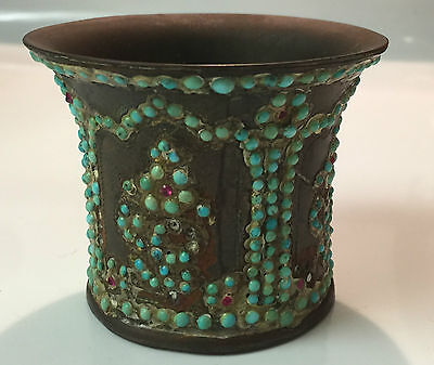 Antique 19th C. Qajar Persian Brass Hookah Cup with Gemstones