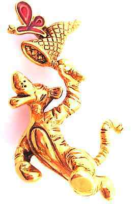 Collectible Disney Golden Tigger Chasing Red Enamel Buterfly Net