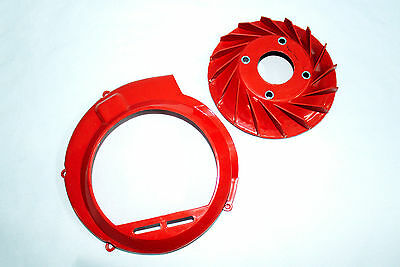 Saio Flywheel Fan + Fan Cover RED For Vespa VBB VBA Bajaj Chetak - High Quality