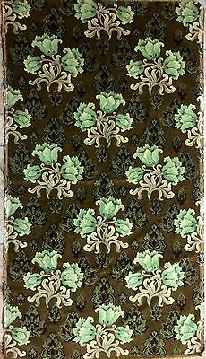 Antique Victorian/Edwardian Fabric* Printed Cotton Velvet/Velveteen*Green Floral