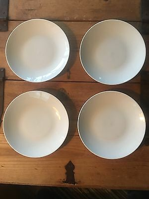 "Set of 4 8"" Salad Plates Crate & Barrel ELEMENTS White Ceramic Dinnerware"