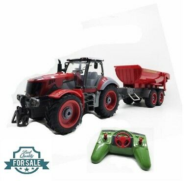 Radio Remote Control 6CH Huge Farm Tractor with Red Dumper Bucket RC RTR