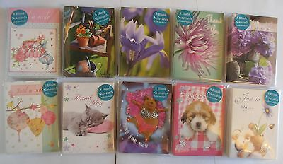 Pack of 8 blank mini note cards thank you 7 designs Cat Dog Guinea Pig Flower