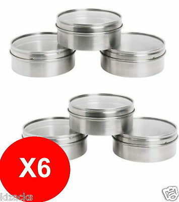 6 x IKEA Magnetic Stainless Steel Containers Tins Spice Jars Silver GRUNDTAL New