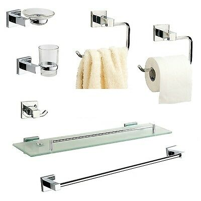 Bathroom Accessories, Chrome  Square Cubic Style Wall Mounted Fittings Included