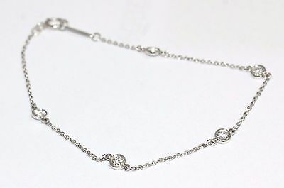 Tiffany and Co Elsa Peretti Platinum Diamonds By The Yard Bracelet 7 Inches